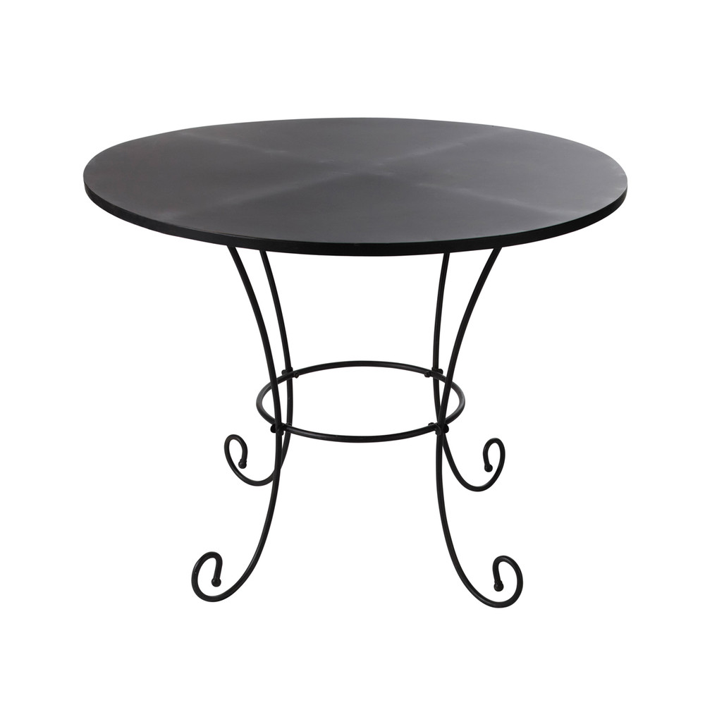 Table de jardin en m tal et fer forg brun fonc d100 st for Table de jardin ronde en fer