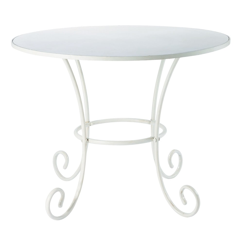 Table de jardin en m tal et fer forg ivoire d 100 cm for Table de jardin en fer forge