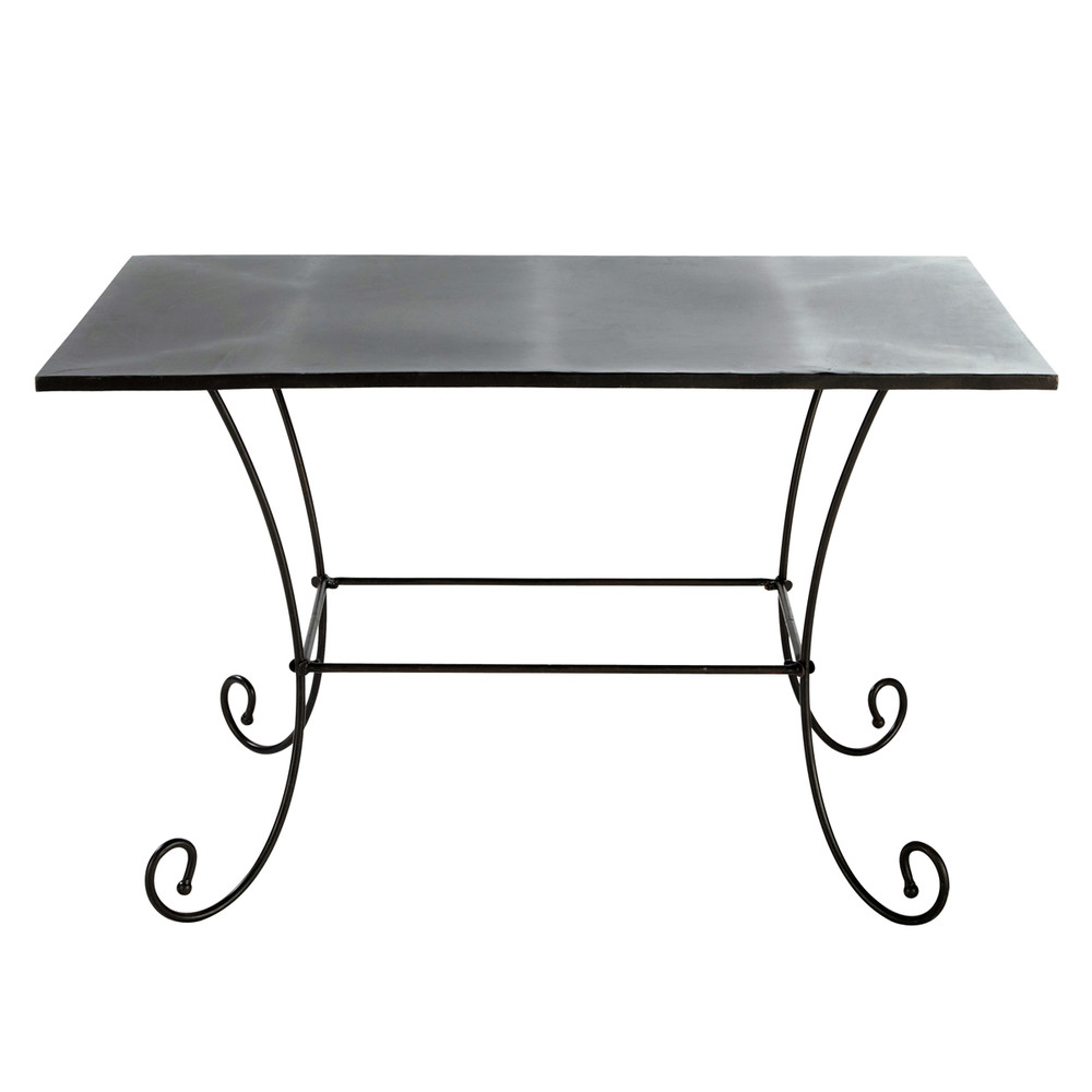 Table de jardin en m tal et fer forg marron l 125 cm st - Table de jardin metal ...