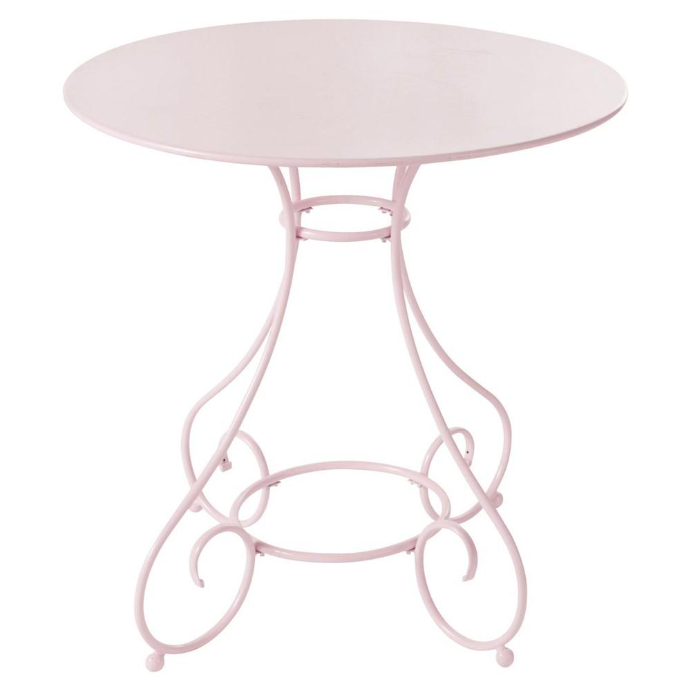 Table de jardin en m tal rose d 70 cm mary maisons du monde - Petite table de jardin maison du monde ...