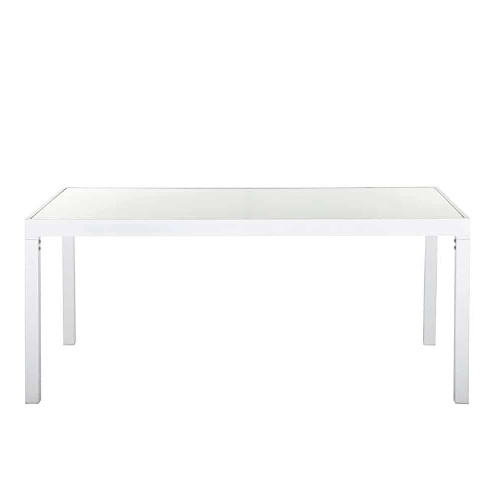 table de jardin en verre et aluminium blanc 4 personnes santorin maisons du monde. Black Bedroom Furniture Sets. Home Design Ideas