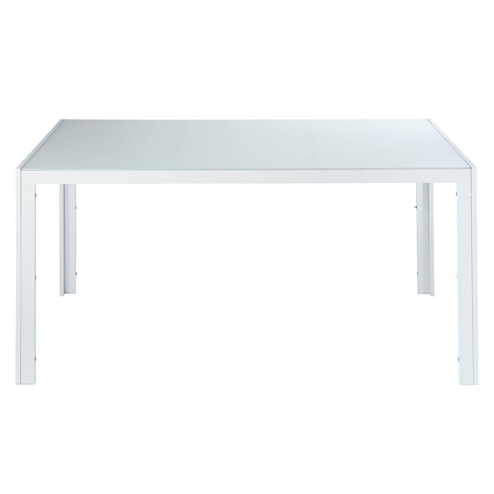 table de jardin en verre tremp et aluminium blanche l 160 cm santorin maisons du monde. Black Bedroom Furniture Sets. Home Design Ideas
