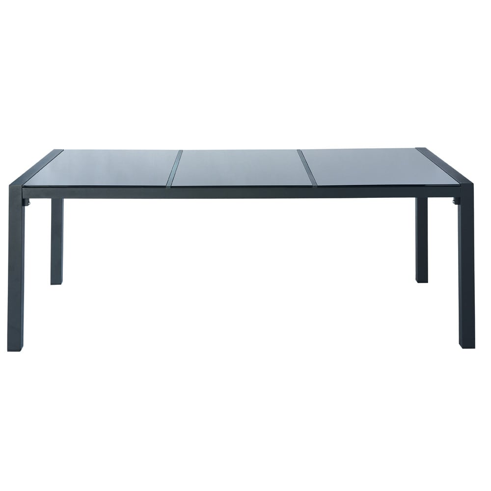 table de jardin en verre tremp et aluminium grise l 210. Black Bedroom Furniture Sets. Home Design Ideas