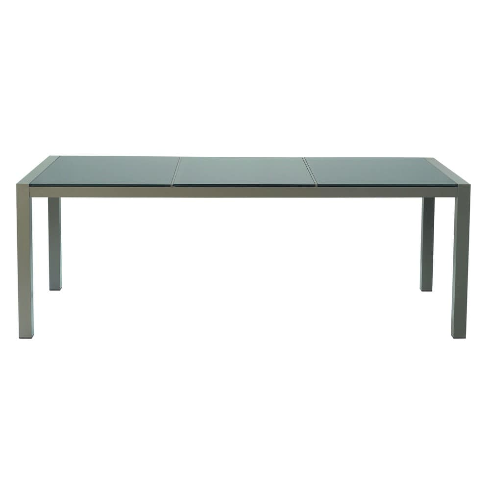 table de jardin en verre tremp et aluminium taupe l 210 cm antalya maisons du monde. Black Bedroom Furniture Sets. Home Design Ideas