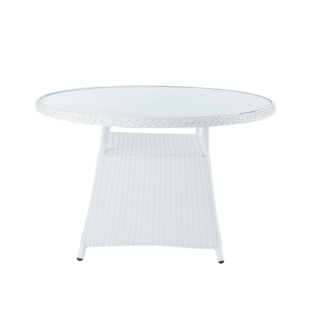 Table de jardin en verre tremp et r sine tress e blanche for Table de jardin ronde en resine blanche