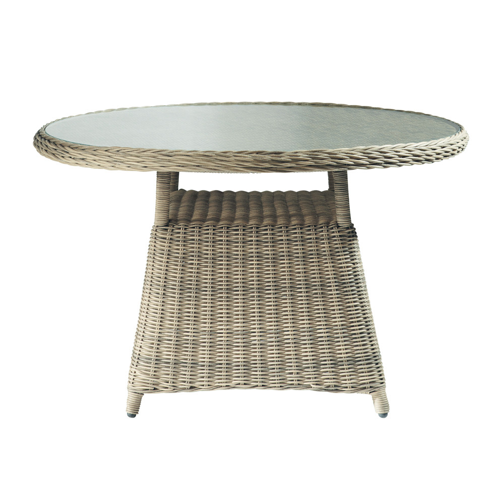 Table de jardin en verre tremp et r sine tress e d 120 cm - Table de jardin industriel saint etienne ...