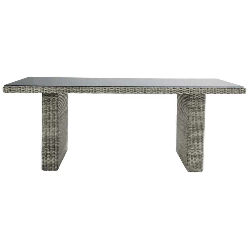 table de jardin en verre tremp et r sine tress e grise l. Black Bedroom Furniture Sets. Home Design Ideas