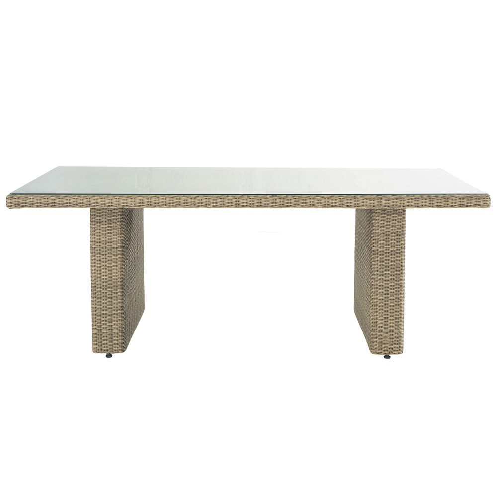 Table de jardin en verre tremp et r sine tress e l 200 cm - Table de jardin industriel saint etienne ...