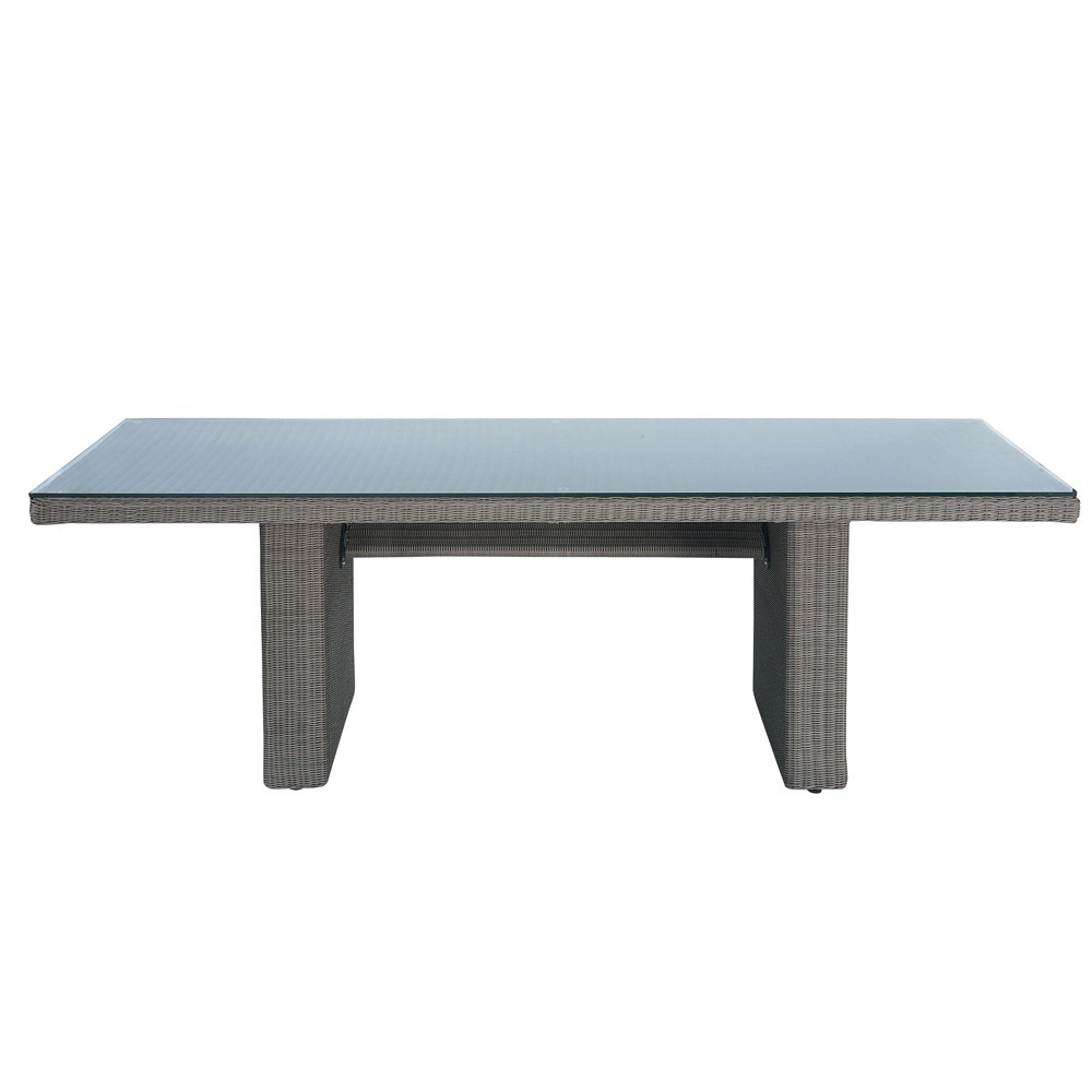 Table de jardin en verre tremp et r sine tress e taupe l - Table de jardin contemporaine ...