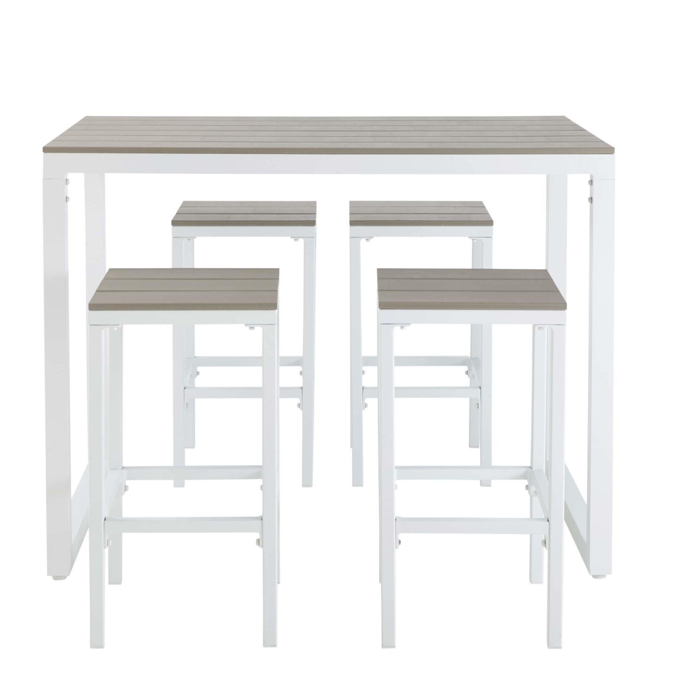 Table de jardin haute avec 4 tabourets en aluminium L128 Escale ...