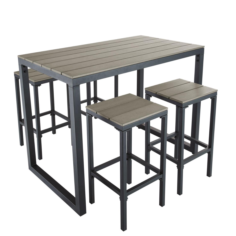 Table de jardin haute avec 4 tabourets L128 Escale   Maisons du Monde