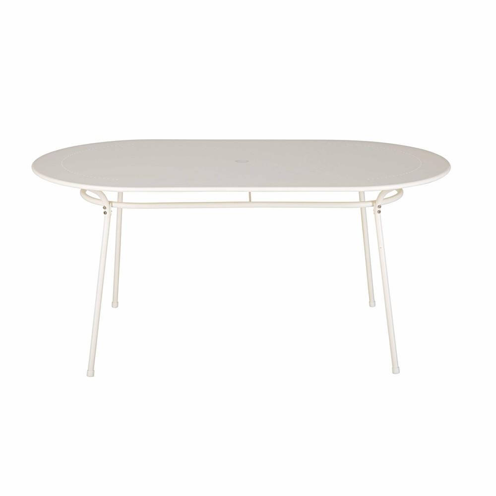 Table de jardin ovale en m tal ivoire 6 personnes holly for Table exterieur ovale