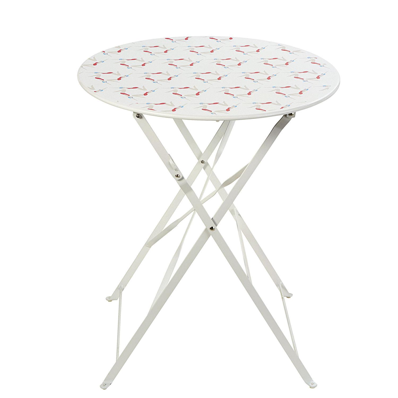 Table de jardin pliante en métal blanc 2 personnes D58 Guinguette ...