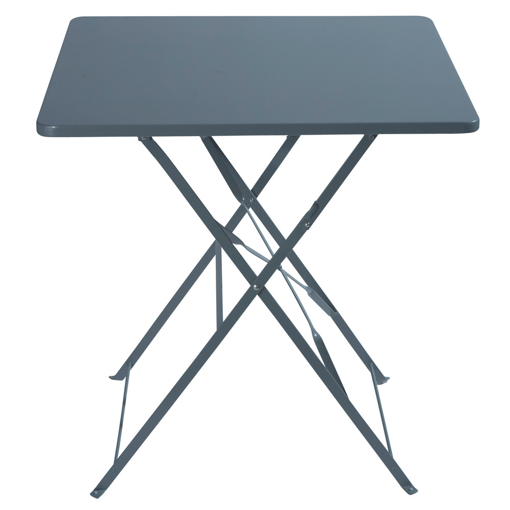 Table de jardin pliante en m tal gris 2 personnes l70 for Table pliante murale 4 personnes
