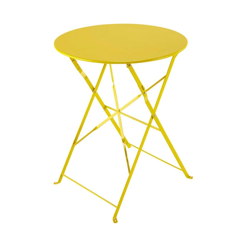 Table de jardin pliante en m tal jaune d58 confetti - Table de jardin pliante maison du monde ...