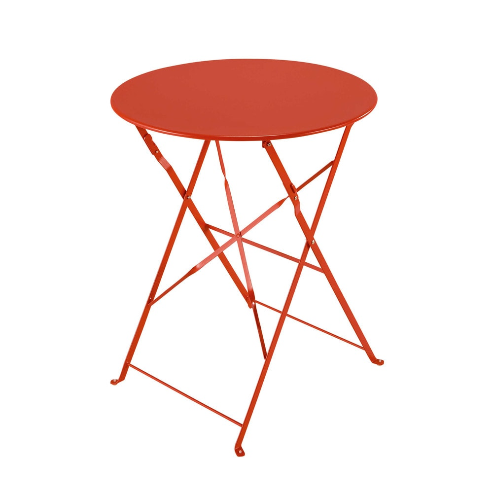 Table de jardin pliante en métal rouge framboise Confetti ...