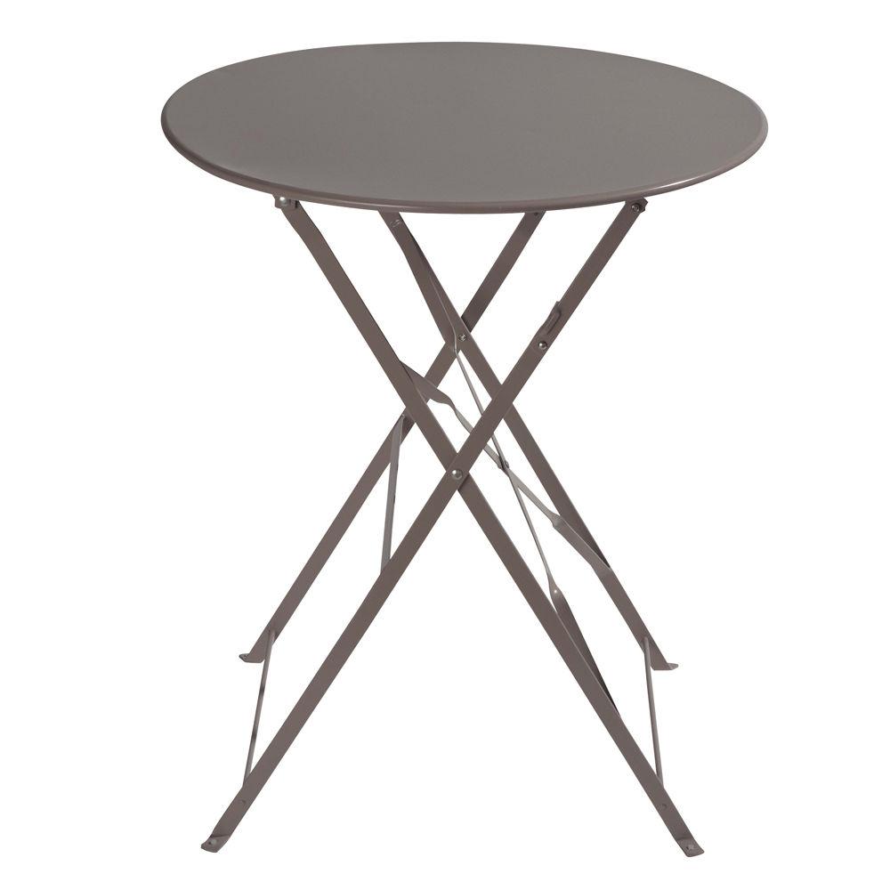 Table de jardin pliante en métal taupe D58 Confetti | Maisons du Monde