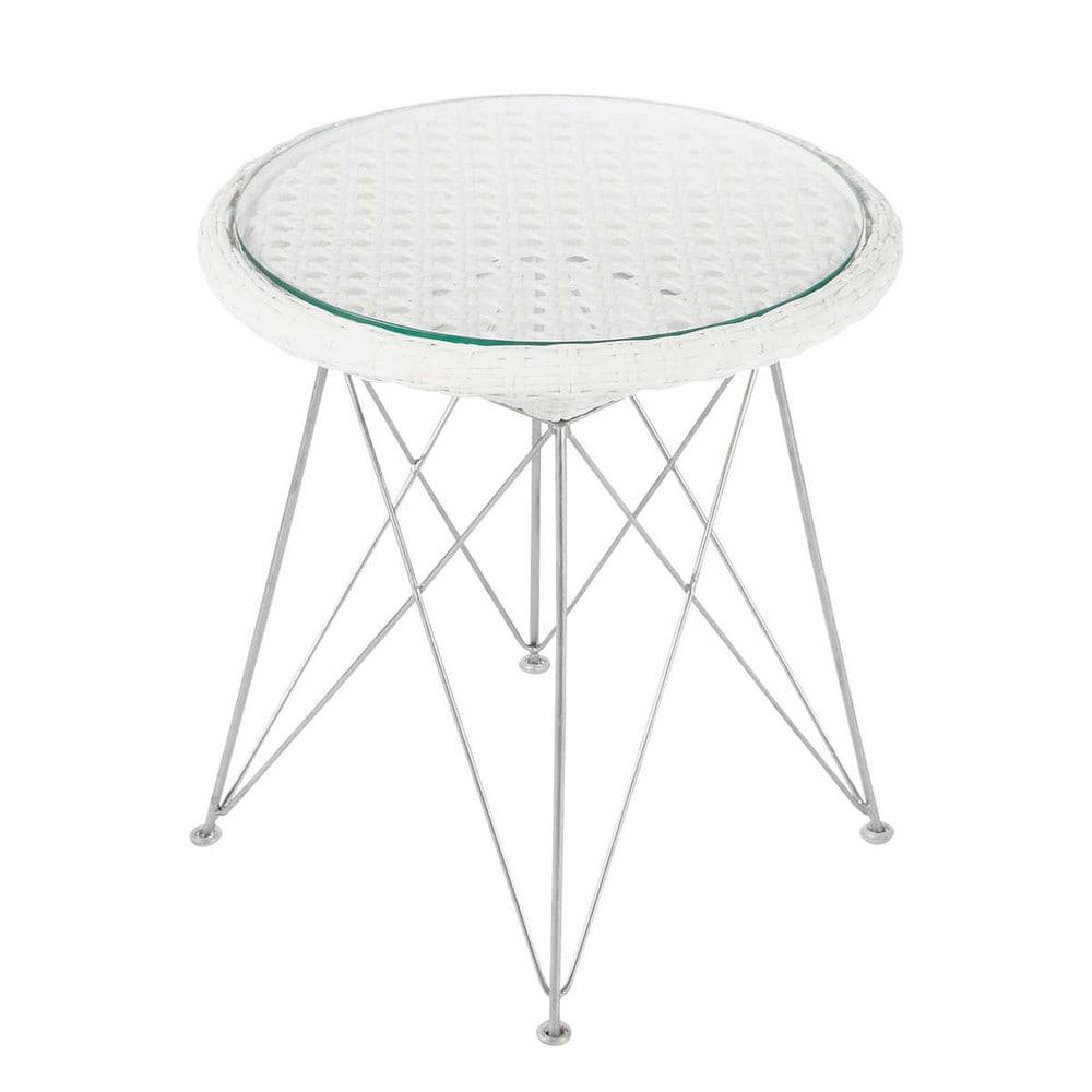 Table de jardin tress e en aluminium et m tal blanche d 50 cm veli maisons du monde Table de jardin aluminium blanche
