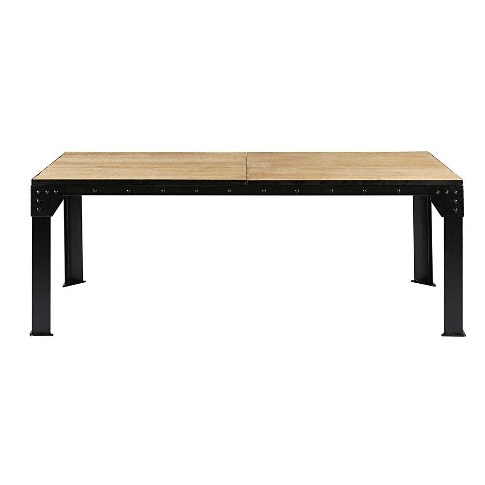 Table de salle manger rallonge en manguier et m tal - Table de salle a manger modulable ...