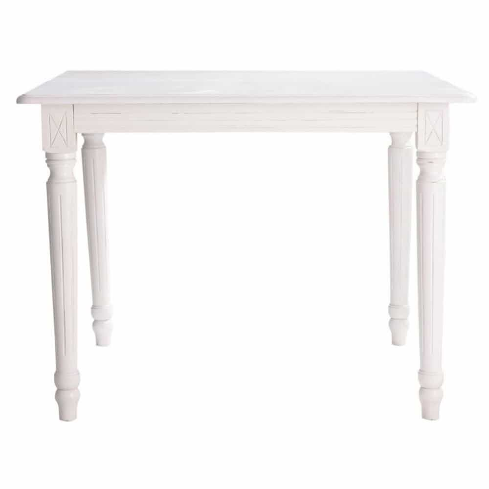 Table de salle manger rallonges en bois blanc l 100 cm - Table blanche en bois ...
