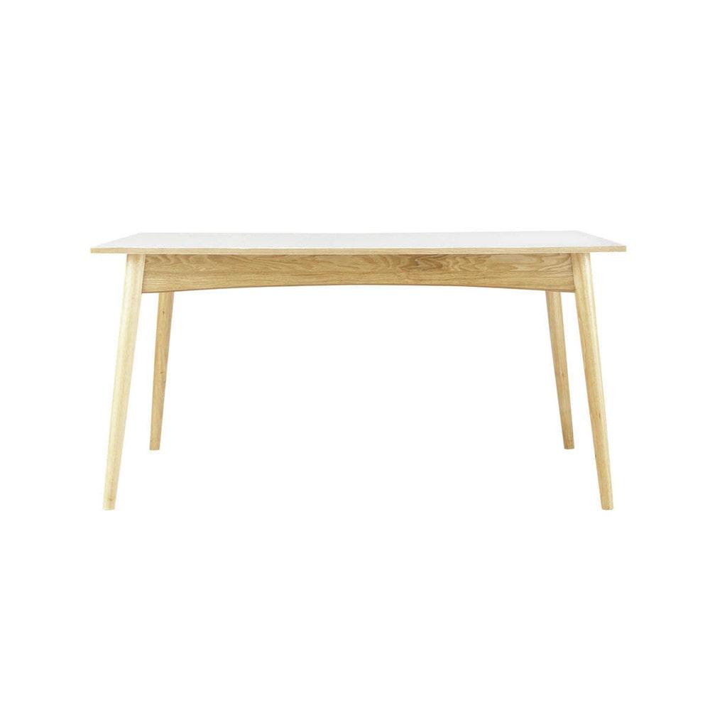 Table de salle manger rallonges en bois blanche l 150 for Salle a manger en l