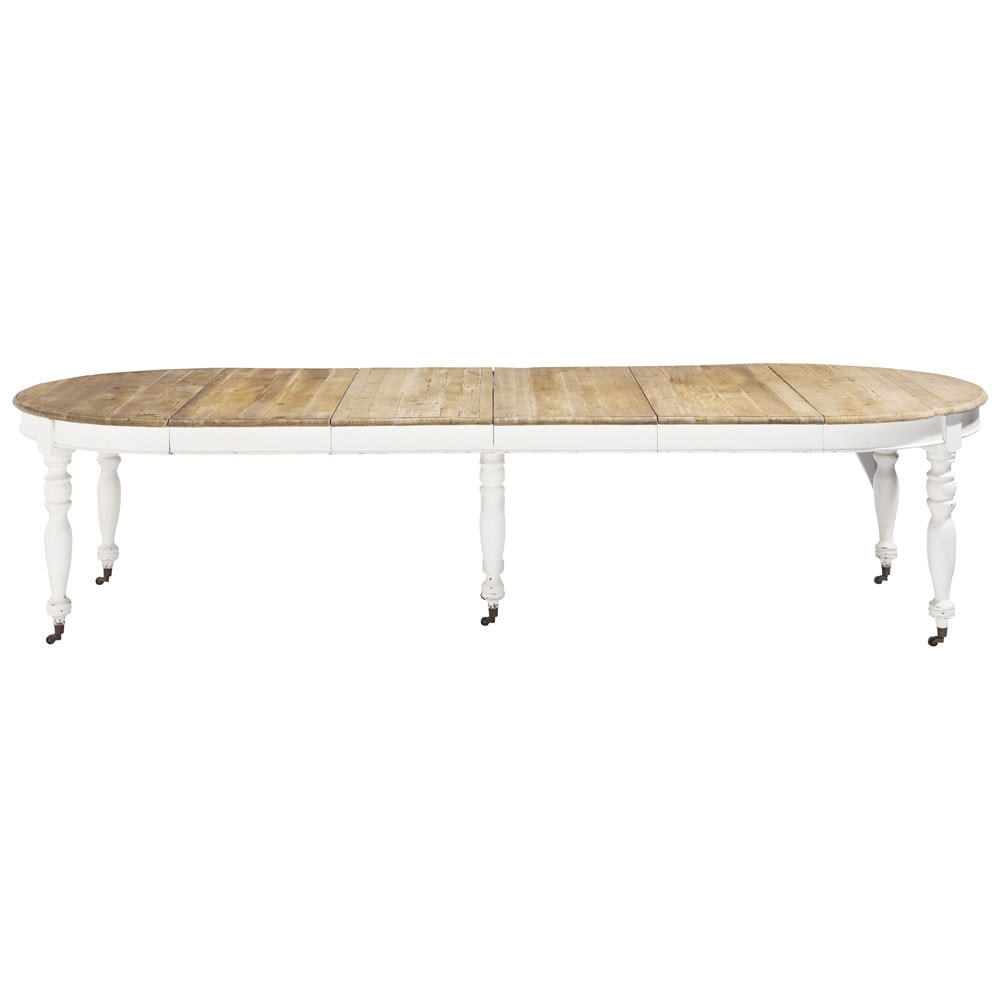 Table de salle manger rallonges et roulettes en bois l for Table salle a manger rallonges integrees