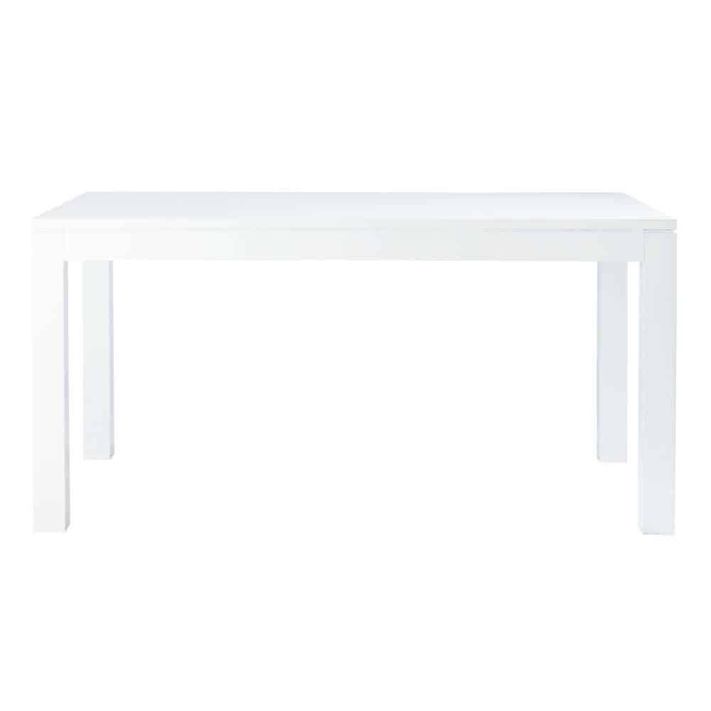 Table de salle manger blanc laqu l 160 cm pure for Table salle a manger laque