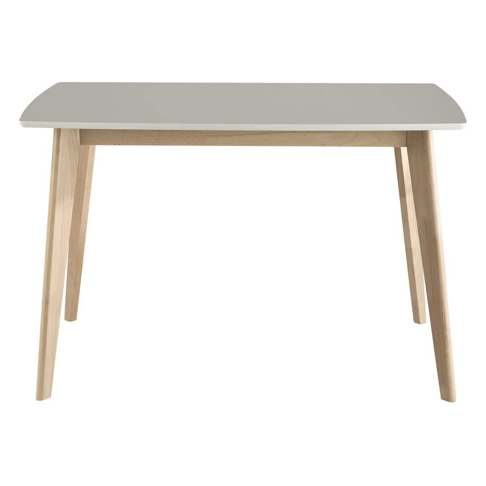 Table de salle manger en bois blanche l 120 cm mia for Table 6 personnes dimensions