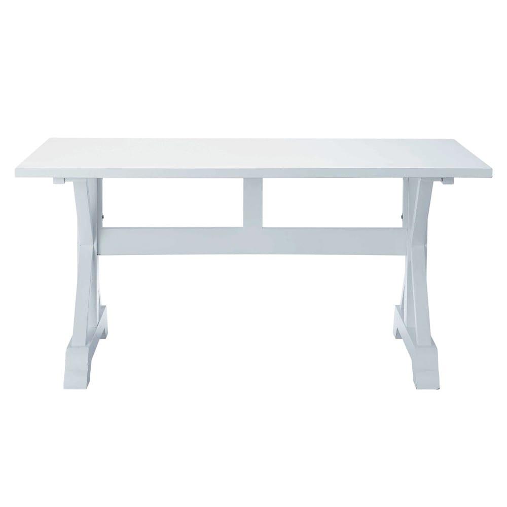 Table de salle manger en bois blanche l 160 cm for Table de salle a manger blanche