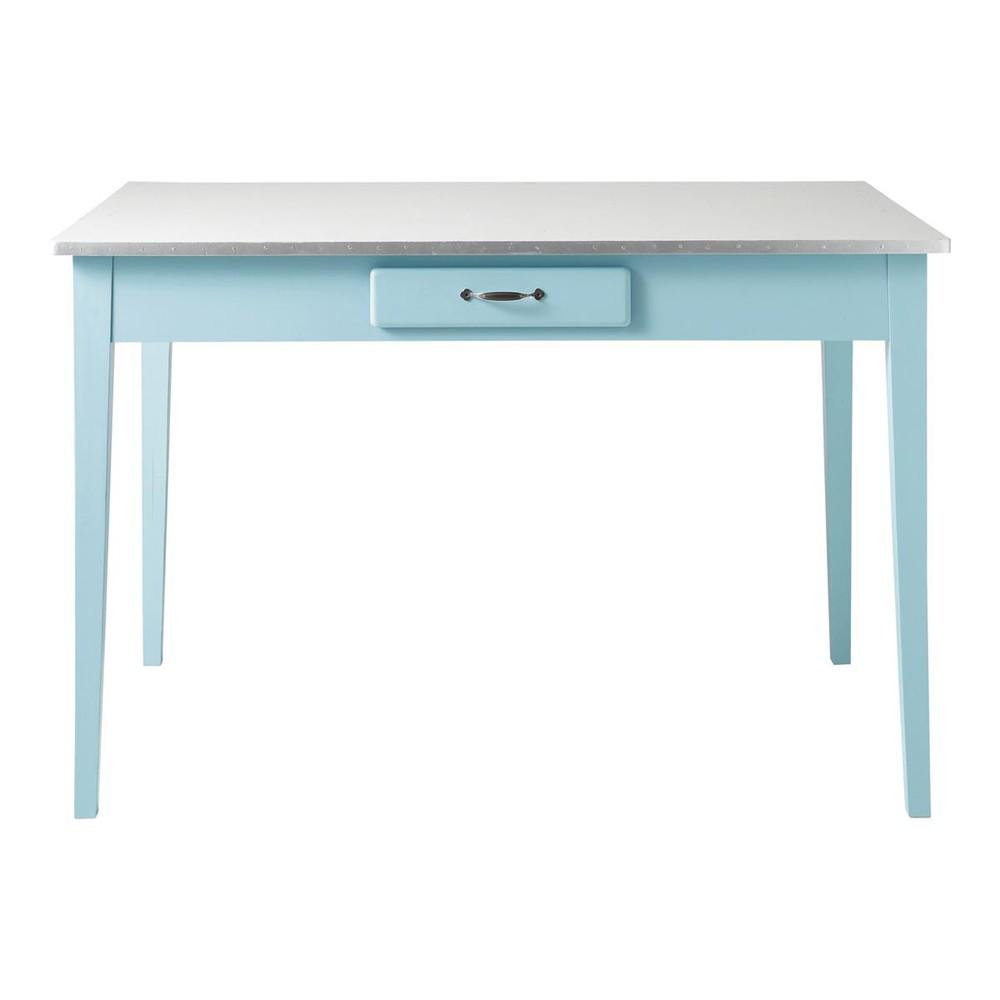 Table de salle manger en bois bleu l 120 cm kitchen for Table de salle a manger annee 50