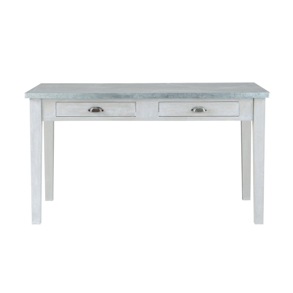Table de salle manger en bois d 39 acacia gris l 140 cm for Table salle manger plateau zinc