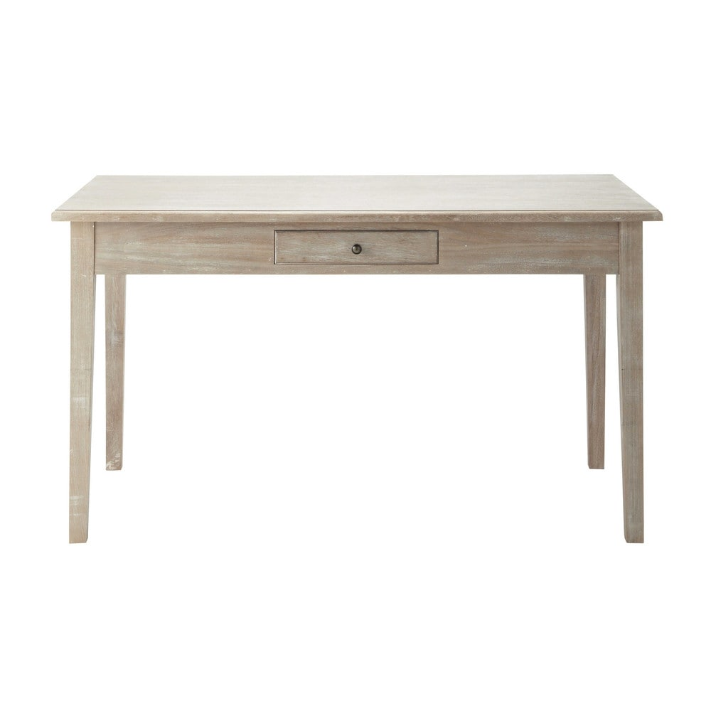 table de salle manger en bois de paulownia grise l 140 cm cavaillon maisons du monde. Black Bedroom Furniture Sets. Home Design Ideas