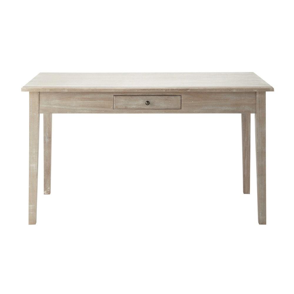Table de salle manger en bois de paulownia grise l 140 for Salle a manger en l