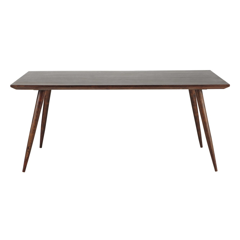 Table de salle manger en bois de sheesham massif brun l for Table manger bois