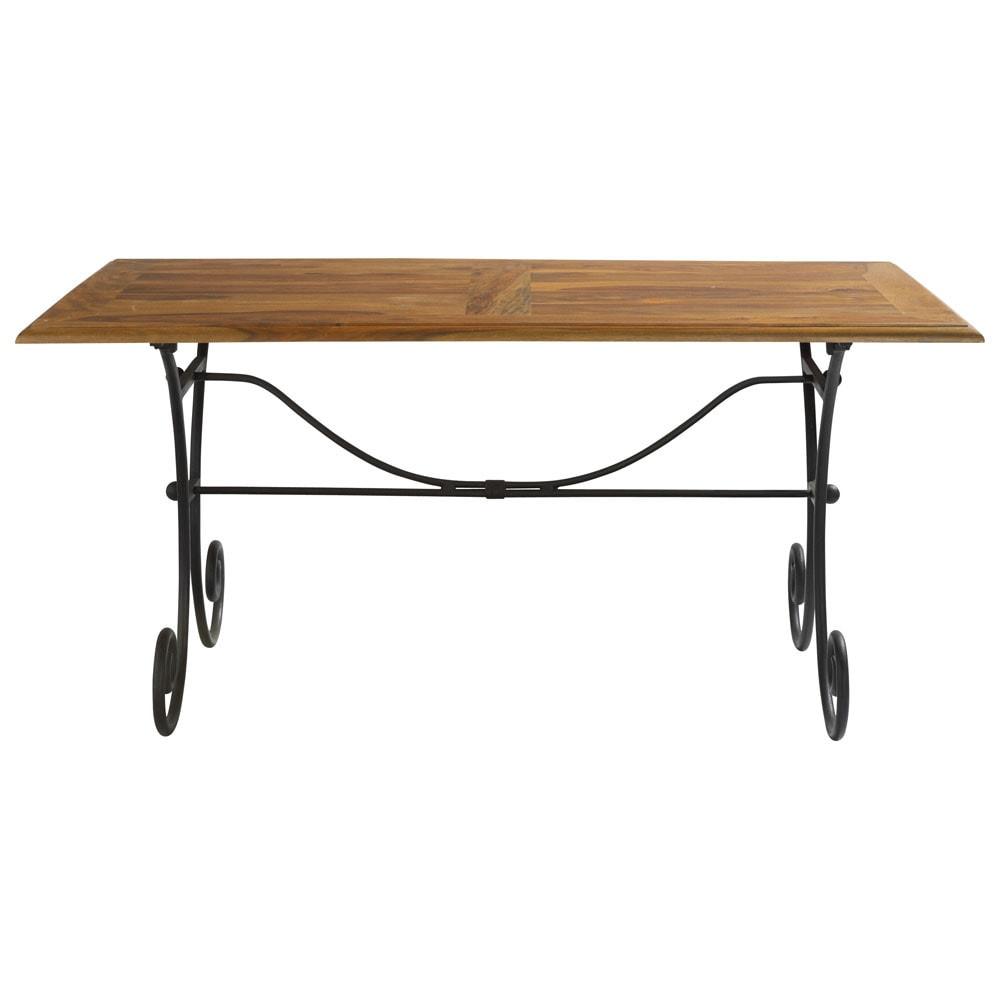 Table de salle manger en bois de sheesham massif et fer forg l 160 cm lube - Table salle a manger bois et fer ...