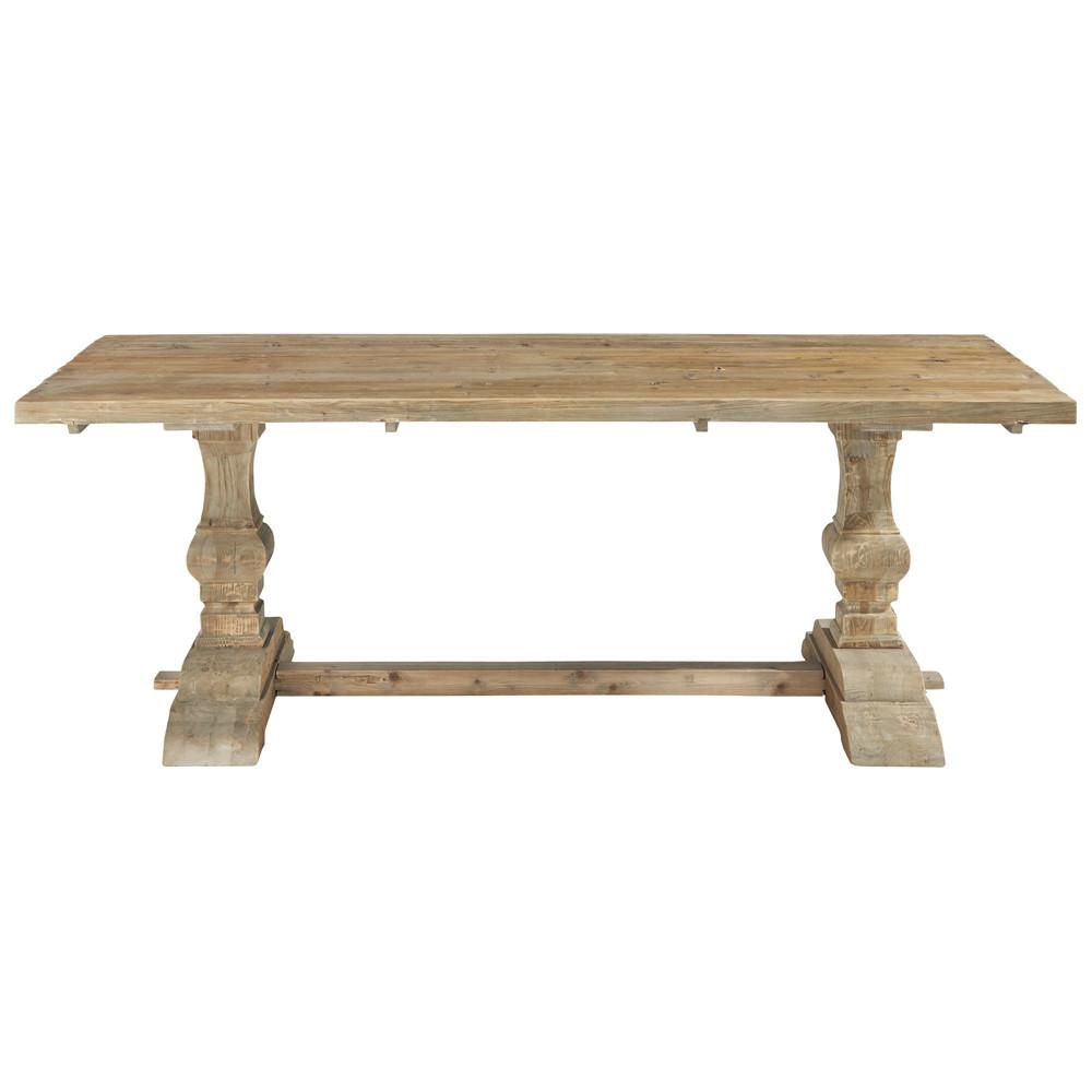 Table de salle manger en bois effet vieilli l 220 cm for Table salle a manger 10 personnes