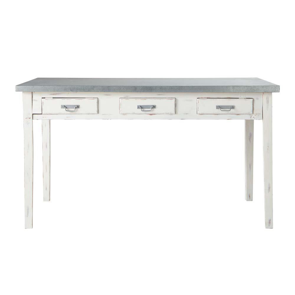 Table de salle manger en bois grise l 140 cm sorgues for Table de salle a manger grise