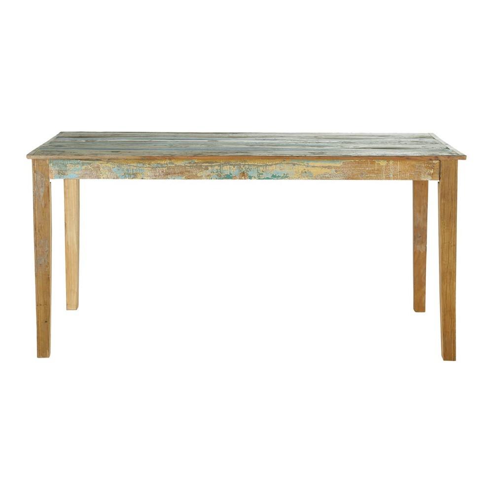 Table de salle manger en bois recycl effet vieilli l 160 cm calanque mai - Table salle a manger recup ...