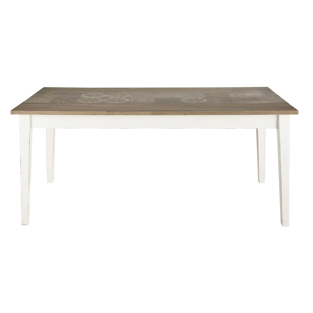 table de salle manger en manguier blanche l 180 cm leopoldine maisons du monde. Black Bedroom Furniture Sets. Home Design Ideas