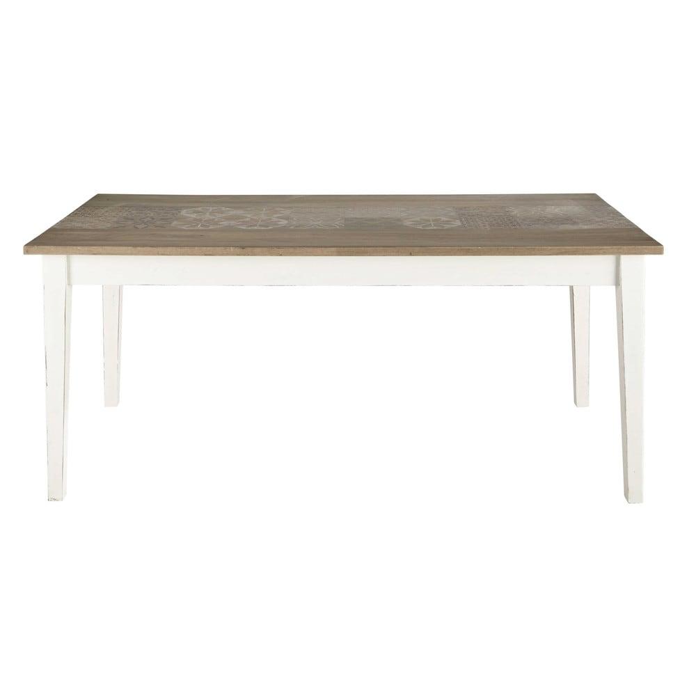 Table de salle manger en manguier blanche l 180 cm for Table blanche salle a manger