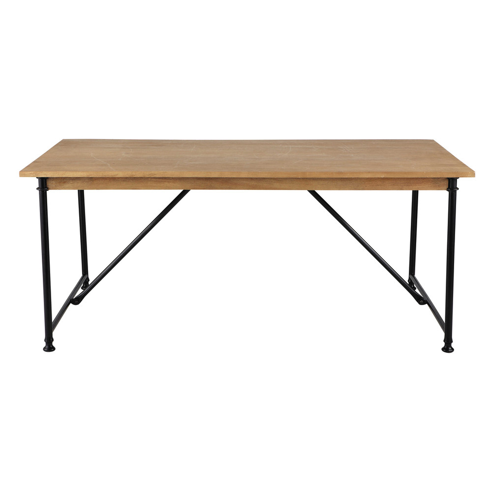 table de salle manger en manguier et m tal l 180 cm naturaliste maisons du monde. Black Bedroom Furniture Sets. Home Design Ideas