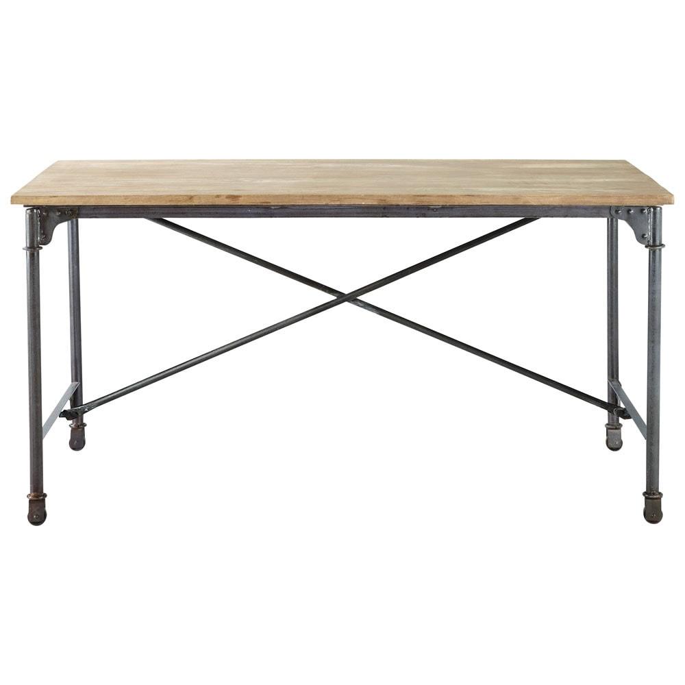 Table de salle manger en manguier massif et m tal l 170 for Table salle a manger noyer massif