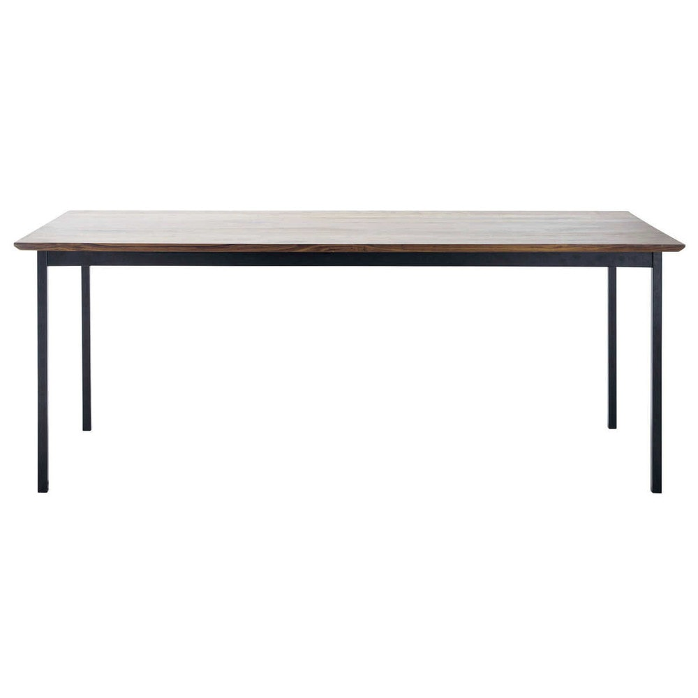 table de salle manger en noyer massif et m tal l 200 cm berkley maisons du monde. Black Bedroom Furniture Sets. Home Design Ideas