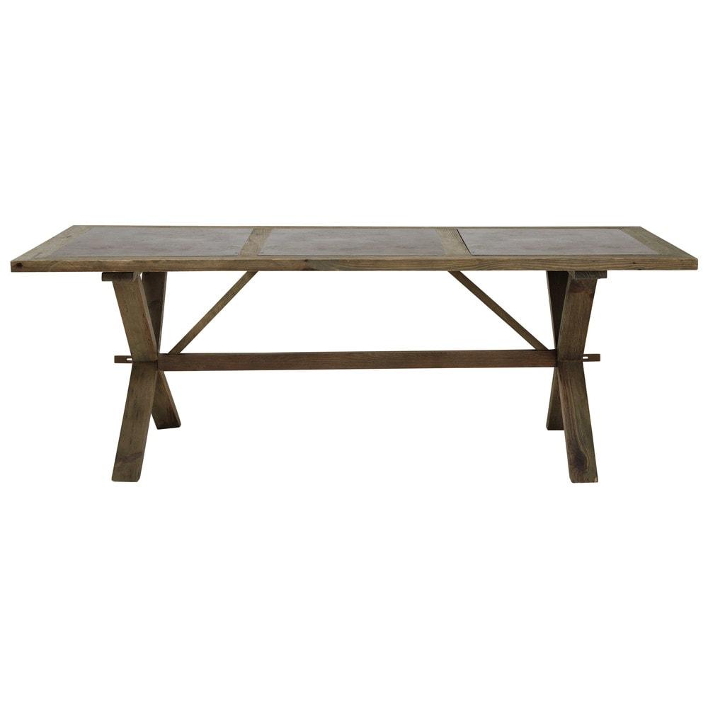 Table de salle manger en pin recycl l 220 cm breteuil for Table de salle a manger 220 cm