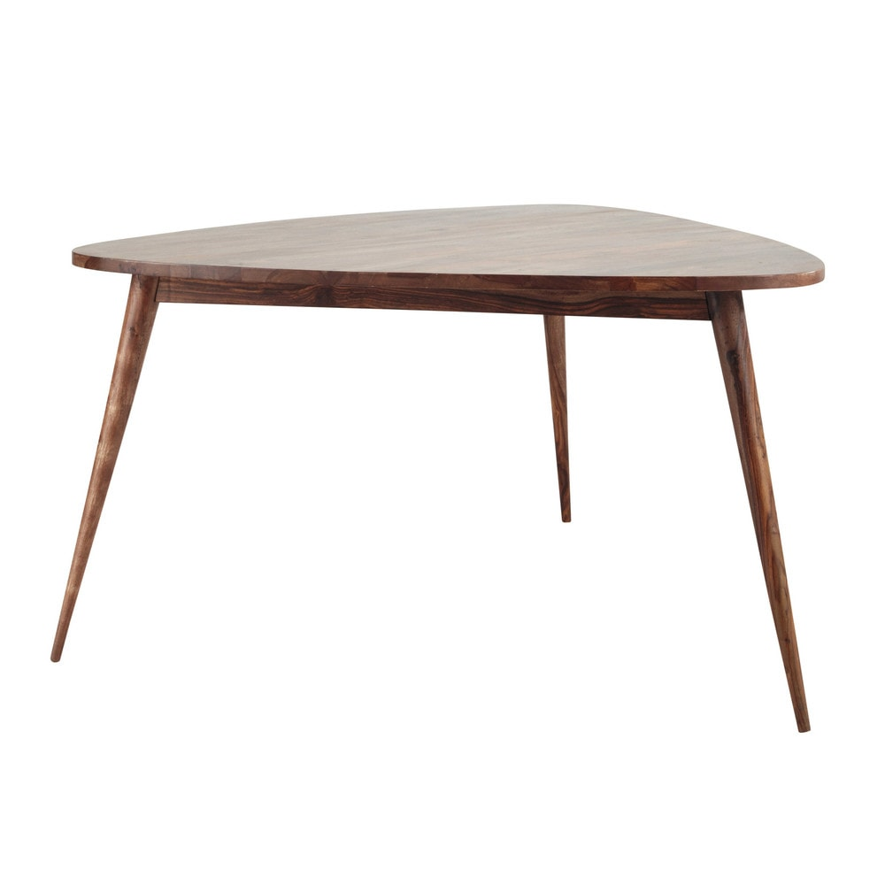 Table de salle manger vintage en bois de sheesham massif for Table a manger triangulaire