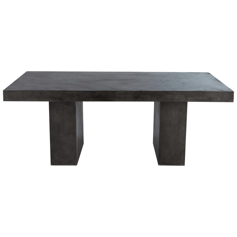 Table en magn sie anthracite effet b ton l 200 cm mineral for Table exterieur beton