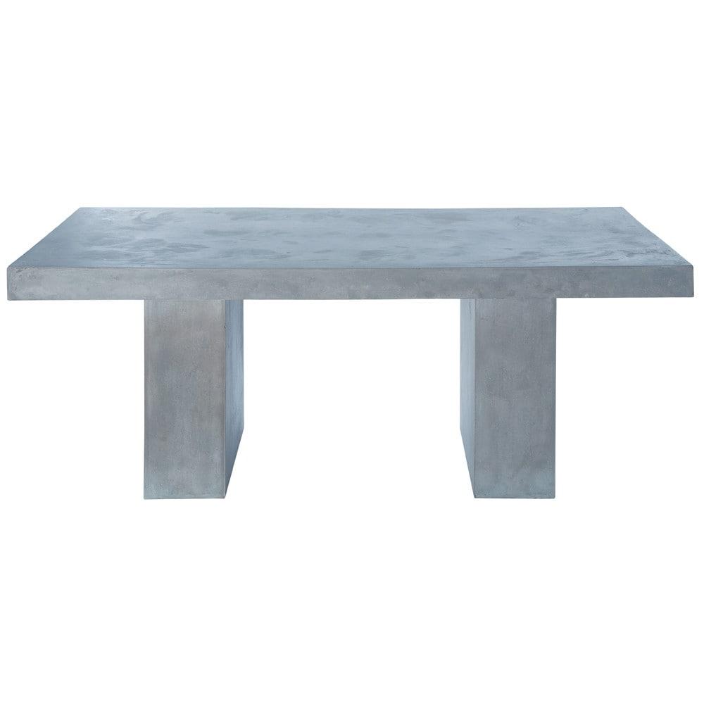 Table en magn sie effet b ton gris clair l 200 cm mineral for Table jardin gris clair