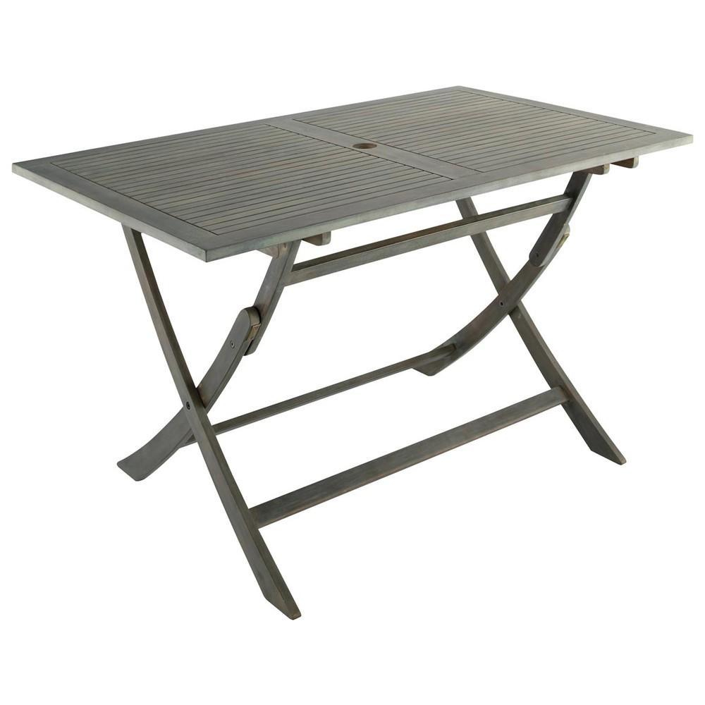table pliante de jardin en acacia l 130 cm saint malo. Black Bedroom Furniture Sets. Home Design Ideas