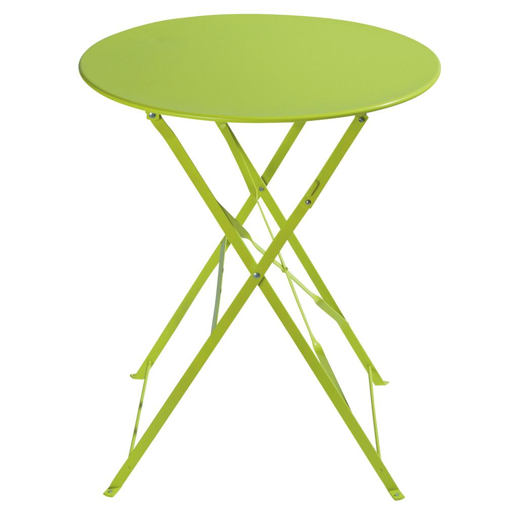Grande Table De Jardin En Plastique : Table pliante de jardin en métal anis D 58 cm Confetti  Maisons du