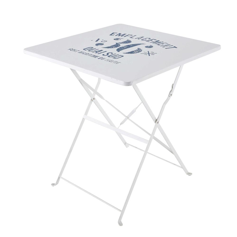 Table pliante de jardin en m tal blanche l 70 cm for Table exterieur 70 cm